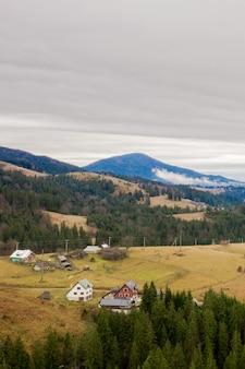산에서 목조 주택입니다. 녹색 초원에 카 르 파 티아 산맥에서 전통적인 작은 오두막. 산에서 전통적인 농촌 풍경입니다. carpathians, 우크라이나.