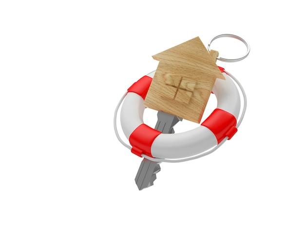 Значок ключа деревянный дом в спасательный круг. 3д