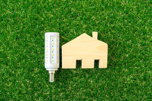 木造住宅モデルと緑の表面の電球