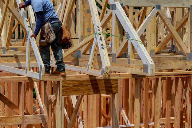 Wooden house roof residential construction home framing