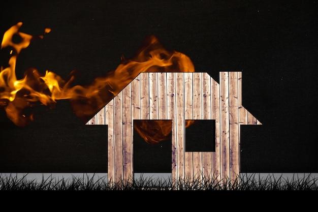 연기와 목조 주택