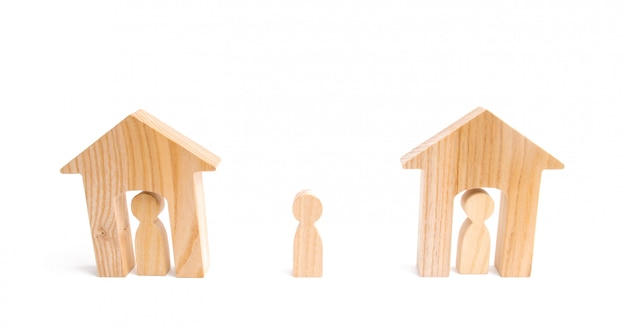 Wooden houses and people and a man between them on a white background.