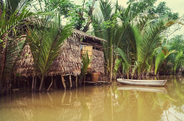 Wooden hut and boat in mekong delta, vietnam
