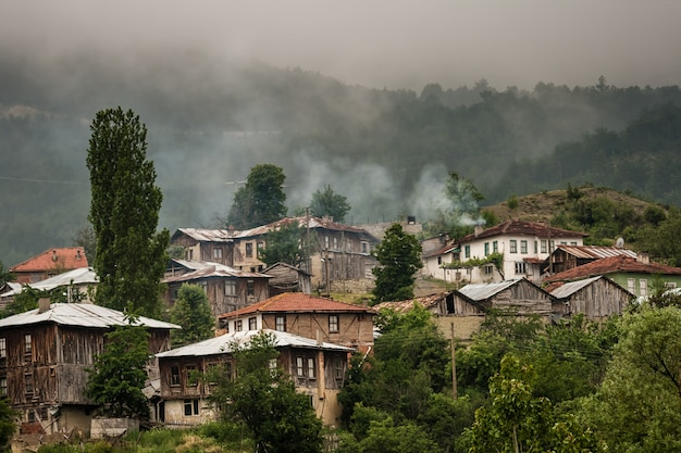 Wooden huts and houses on hillside in turkey