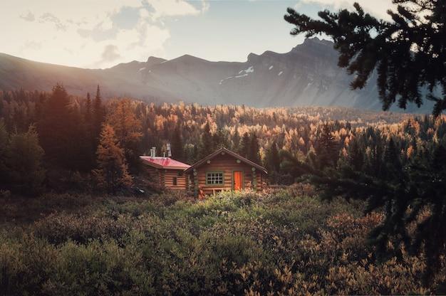 Деревянные хижины со скалистыми горами и солнцем в осеннем глубоком лесу утром в провинциальном парке ассинибойн, британская колумбия, канада