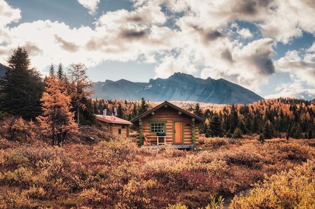 Деревянные хижины со скалистыми горами в осеннем лесу в провинциальном парке ассинибойн, британская колумбия, канада