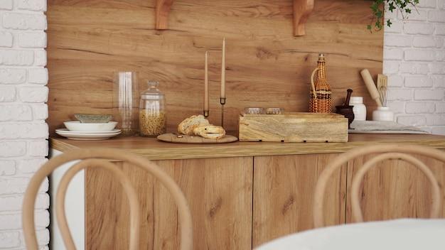 Деревянный интерьер современной кухни. скандинавский стиль, деревенский стиль в теплых коричневых тонах. выборочный фокус