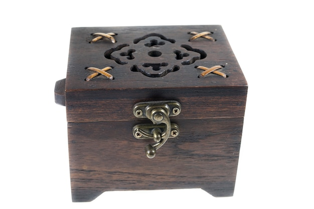 Wooden jewelry box on white background.