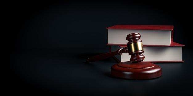 木製の裁判官のガベルとコピースペース付きの響板-3dレンダリング