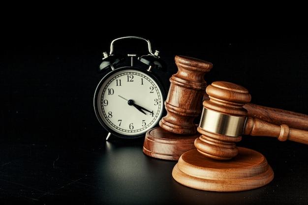 Wooden judge hammer with alarm clock