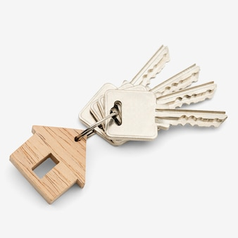 Wooden keychain on white