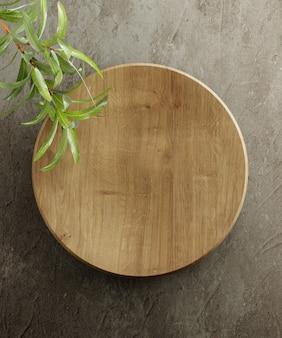 Деревянная кухонная доска. на сером каменном фоне с листьями. вид сверху. свободное место для текста. 3d иллюстрация