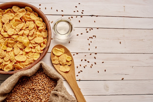 Wooden kitchen items food muesli view from above