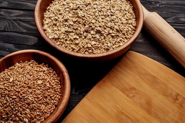 木製キッチンアイテム天然食材を上から眺める