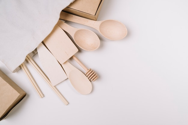 Wooden kitchen tools with copy space