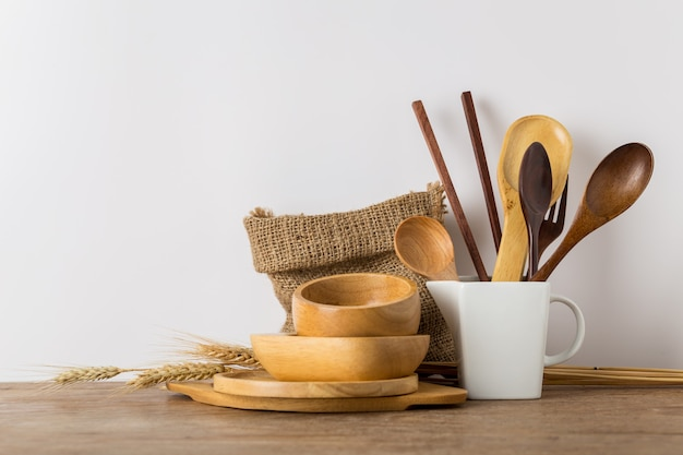 Wooden kitchen utensils set with vintage style color.