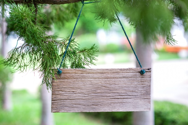 Wooden label on nature background
