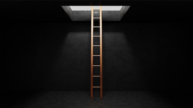 Wooden ladder in dark grey concrete room leading out to light. freedom concept. 3d render illustration.