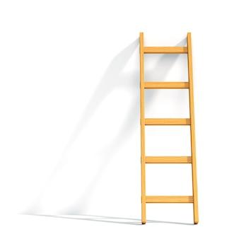 隔離された白い壁にもたれて木製のはしご。 3dイラスト