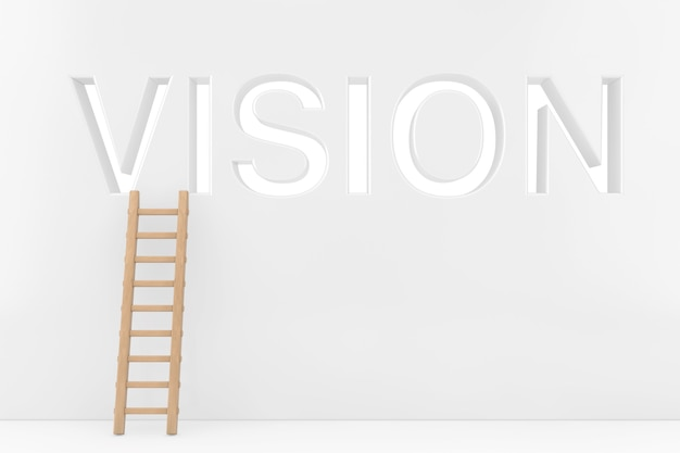 Wooden ladder near the wall with one missing frames as vision sign extreme closeup. 3d rendering