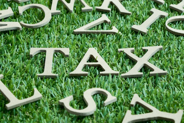 Wooden letters on artificial green grass