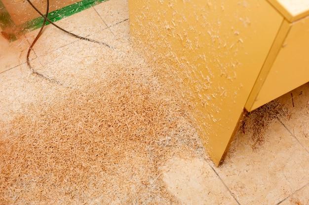 床に木製の小片