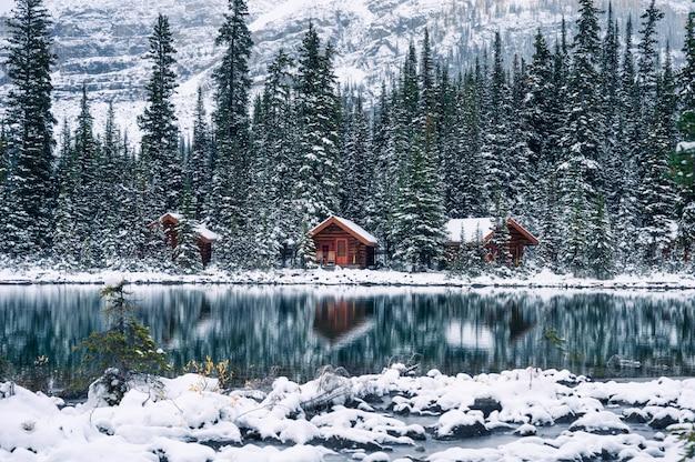 Деревянный домик в сосновом лесу с отражением сильного снегопада на озере о'хара в национальном парке йохо