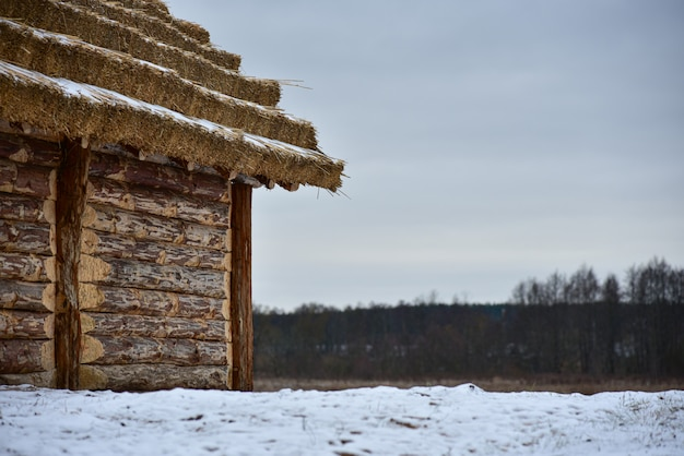 Wooden log cabin with a thatched roof in winter