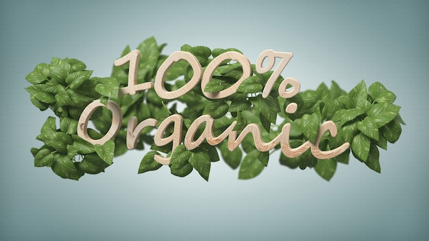 Wooden logo 100 % organic with leaves around 3d rendering banner