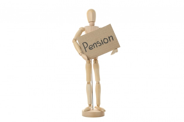 Wooden man holding inscription pension, isolated on white surface
