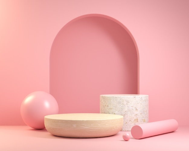 Wooden and marble podium on pink background
