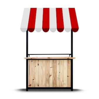 Wooden market stand on white.