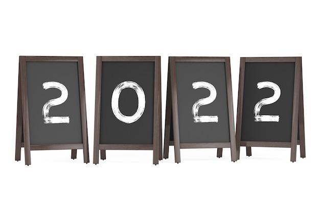 白い背景に2022年のサインと木製メニュー黒板屋外ディスプレイ。 3dレンダリング