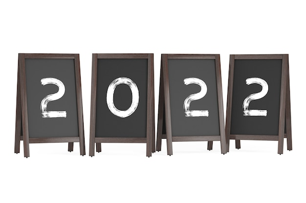 Wooden menu blackboard outdoor displays with 2022 year sign on a white background. 3d rendering