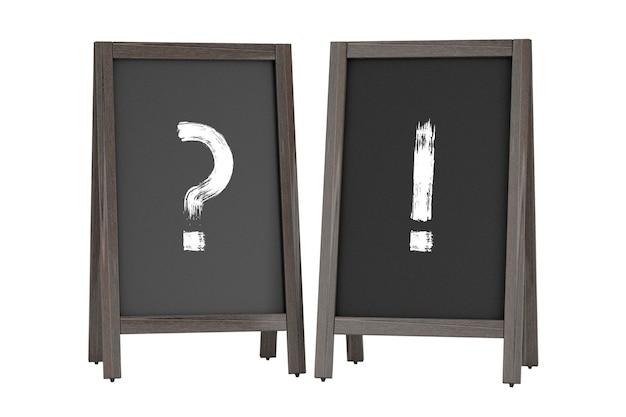 Деревянная доска меню на открытом воздухе дисплеи с вопросительными и восклицательными знаками на белом фоне. 3d рендеринг