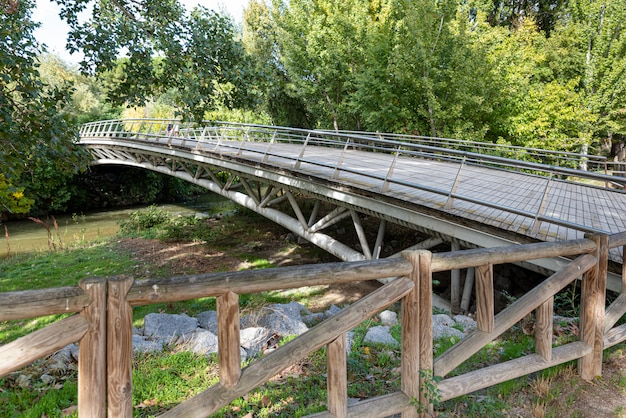 Wooden and metal bridge spanning a river