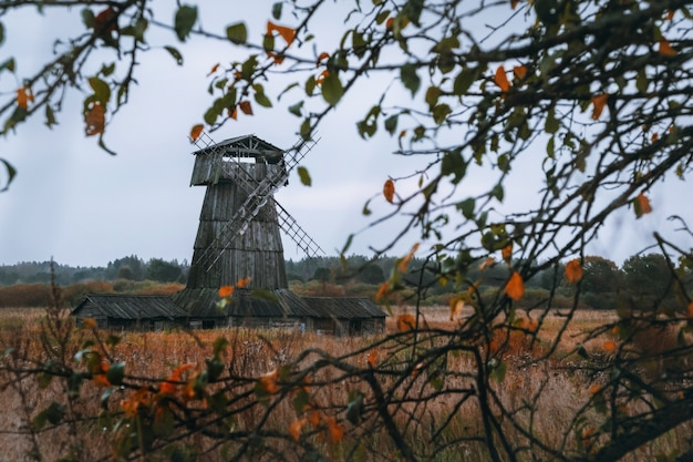 Wooden mill. cloudy autumn day in a countryside mill village