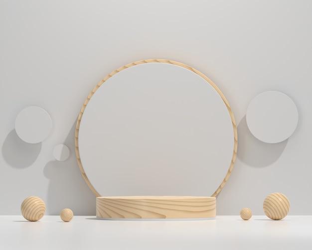 製品ディスプレイの背景3dレンダリングを宣伝するための木製の最小限のプラットフォーム表彰台