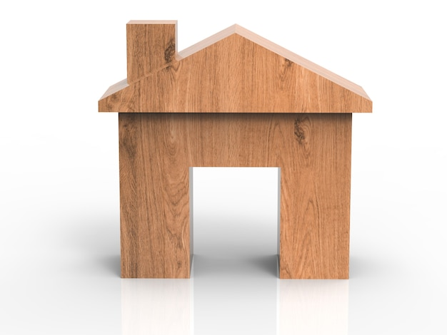 Wooden mock up house on white background