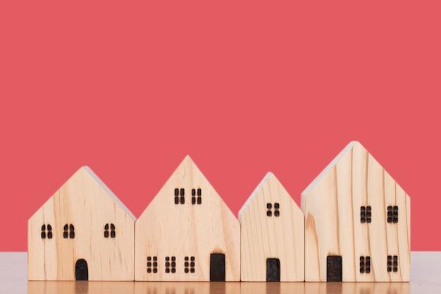 Wooden model house in studio