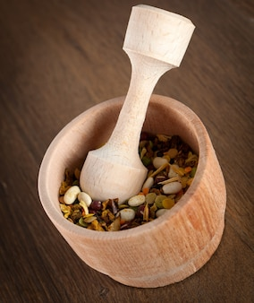 Wooden mortar for pounding spices