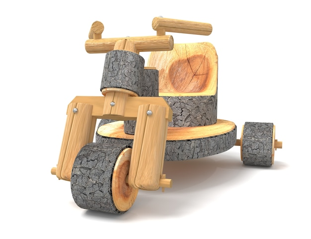 Wooden motorcycle toy 3d rendering