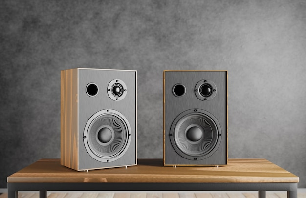 Wooden music speakers sit on a table against the backdrop of a dark loft-style interior. 3d rendering.