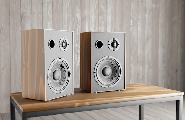 Wooden music speakers stand on the table against the background of a wooden interior. 3d rendering.