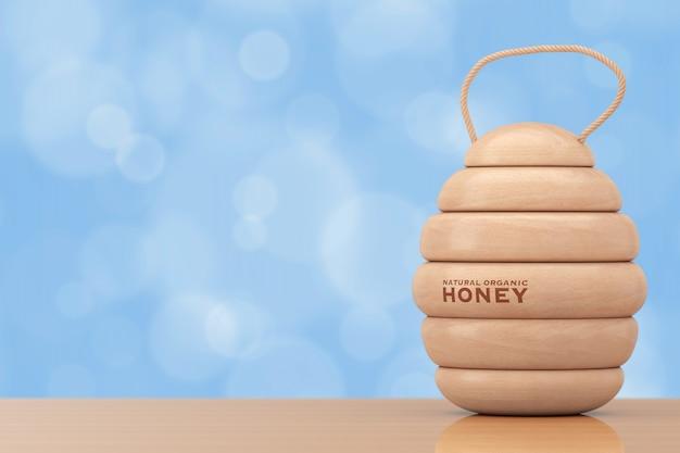 Wooden natural organic honey barrel keg on a wooden table. 3d rendering