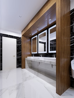 Деревянная ниша с зеркалами, светильниками и раковинами на стене из черного мрамора в общественном туалете. 3d рендеринг