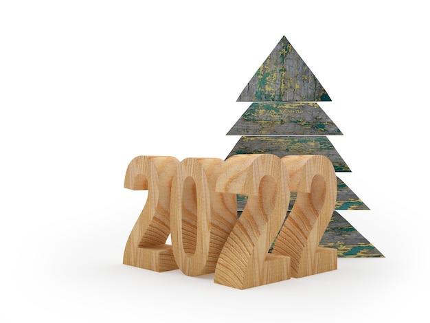 Деревянный номер нового года с елкой