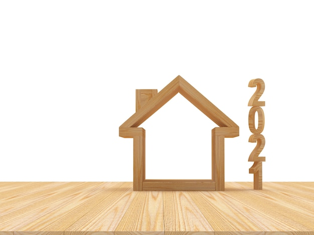 Wooden numbers 2021 and empty house icon