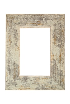 Wooden old-fashioned shabby frame isolated