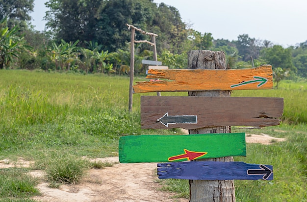 Wooden painted signs on poles background fields and trees.
